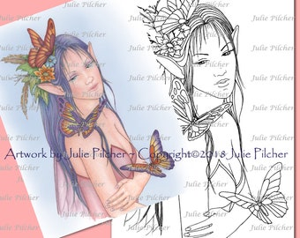 Digital Stamps, Digi Stamp, Instant Download, Printable Colouring Page, Line Art, Card making, paper crafts, Butterfly, Free Spirit, Fairy