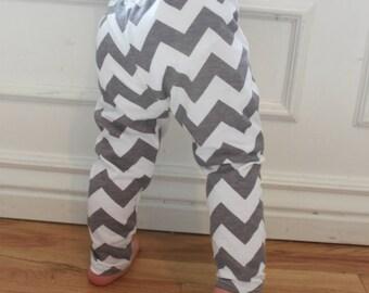 SALE Gray, Grey and White Chevron Baby Toddler Knit Leggings Pants