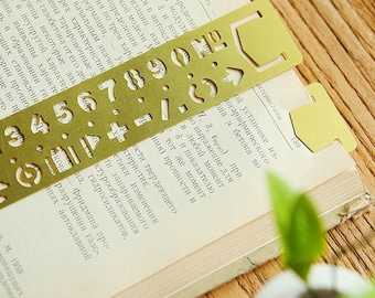 Brass Ruler Bookmark Stencil Numbers for Journals Travelers Notebook