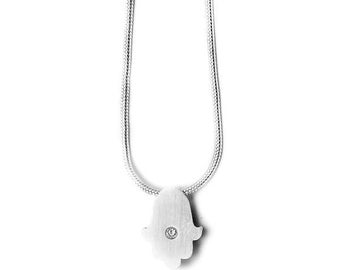 Sterling Silver and CZ Hamsa Necklace