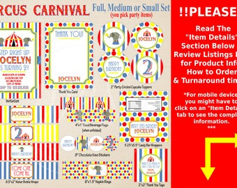 Circus Party Printables - Circus Birthday - Carnival Party Printables - Printable Party Set - Circus Party Decor