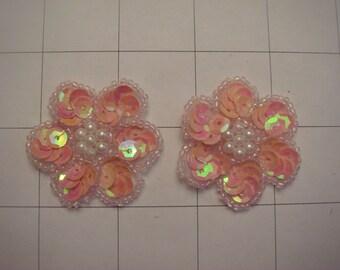 "1.25"" Coral AB Sequins Flower Applique Set of 2 Pearl Center A-66"