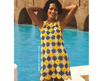Crochet Pattern Beach Dress Lacy Cover Up Motif Dress Pattern Womens Crochet Mini Dress Tunic PDF Instant Download C93