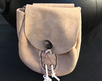 Hand Made Tan Suede Leather Belt Pouch