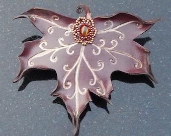 Maple Leaf Leather Barrette - Burgundy Faerie Leaf with Spiral Veins and Beaded Tiger Eye Gem