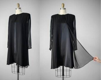 little black dress | black cocktail dress | sheer black dress | long sleeve black dress | black mini dress | black shift dress