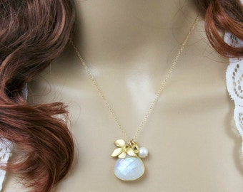 Moonstone Necklace, Gemstone Necklace, Flower Necklace, Gold Initial Necklace, Rainbow Moonstone, Orchid Necklace, Mom Gift,Handmade Jewelry