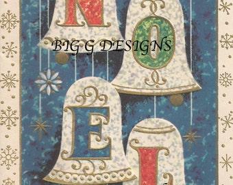 Vintage Christmas greeting card Noel bell digital download printable instant image clip art