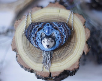 Husky necklace Dog necklace Husky jewelry Animal necklace Husky dog Siberian husky Dog jewelry Dog totem Winter jewelry Nature jewelry