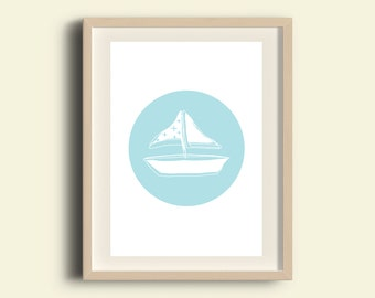 Sailboat art, sailboat printable, sailboat kids room decor, sailboat nursery art, light blue nautical decor, minimalist kids decor, A3 print
