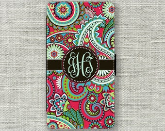 iPhone 7 Wallet Case, Red Paisley Monogrammed iPhone 7 Plus Wallet Case Monogram 1241