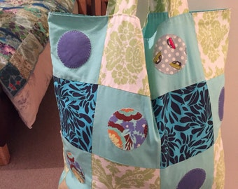 Patchwork Shopping Grocery Bag in Amy Butler organic cotton