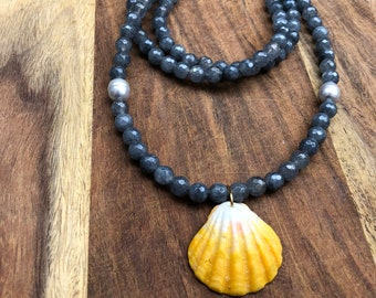 Jade and Sunrise Shell Necklace