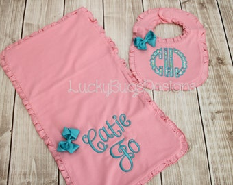 New Baby Bib and Burp Cloth Gift set- baby girl