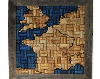 wine cork art - travel art - custom art - wine gift - gift for wine lover - cork art - wine decor - going away gift - wine cork decor