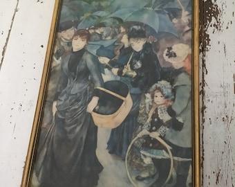 Renoir umbrellas print - vintage print - framed - retro -