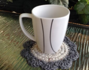 Gray Beige Coaster Set of 4 Handmade Crochet Doily