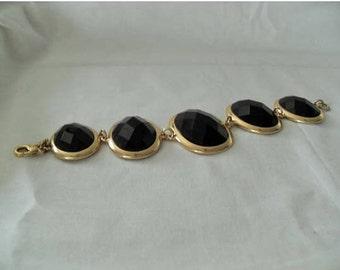 SALE Gold Brown faceted Rhinestone bracelet, Brown plastic rhinestone links Big Bold Gold link bracelet, retro gift for her, Gingerslittlege