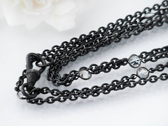 Edwardian Muff Chain | Extra Long Antique Black Gunmetal Chain with Crystals | 56 Inch or 1.4m Long Guard Chain, Fob Clip | Black Sautoir