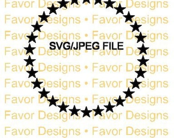 Circle of Stars SVG, JPEG, Cut File, Silhouette, Circuit, Frame, Border, Digital Download, Stars Svg, Frames Svg, Monogram Svg, Clip Art
