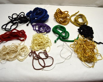 "Vintage Assored Cording Lot Black Red Green Gold Purple 1/8-1/4""diams"