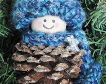 Pinecone Gnome Christmas Tree Ornament Angel Crocheted Blue Hat & Scarf Handpainted Wooden Holiday Decoration Distinctly Daisy