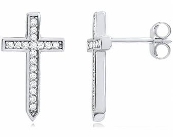 Silver and Post Women's Sterling Silver CZ Cross Earrings, High Quality Design, Bamboo Gift Box Included