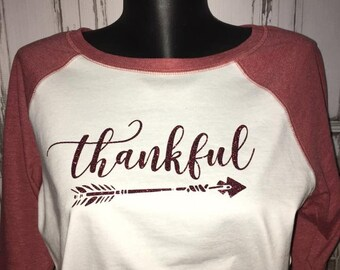Thankful Ladies Raglan Tee, Holiday Glitter Shirt
