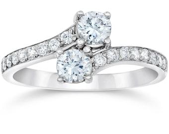 1 Carat Forever Us Diamond Two Stone Engagement Ring 10K White Gold