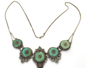 Green Turquoise & Red Garnet Necklace 925 Sterling Silver L18-05