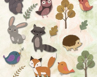 Woodland Animals Clipart Set, woodland animals clip art images, forest vector, forest digital art,  commercial use with Instant Download