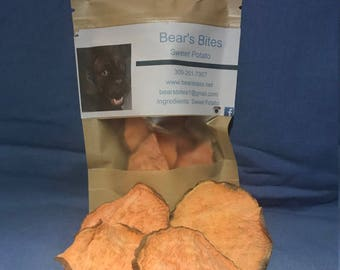 Sweet Potato Dehydrated dog treats.