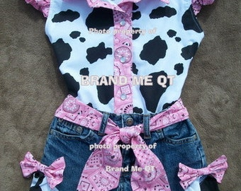 Size 6x - 7  READY to SHiP  Beautiful PINK  BANDANA upcycled cowgirl  shorts outfit with custom made matching blouse.  size 6 - 10