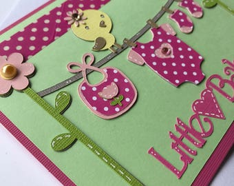 Baby Girl Card, Baby Shower Card, Girl Handmade Card, Baby Card, Congratulations Baby Card, Girl Baby Shower Card, Handmade Card