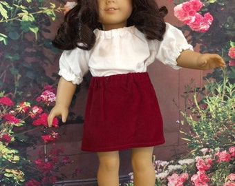 casual skirt and blouse fits 18 inch dolls such as American Girl or Gotz