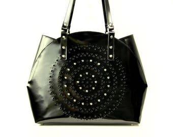 SALE  leather bag handmade bag black bag casual bag pattern bag boho chick bag perforation bag classy bag woman bag captious bag