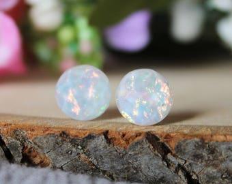 READY TO SHIP / Shiny White Opal Earrings / Hypoallergenic Earrings / Titanium Earrings / White Earrings / Stainless Steel Earrings