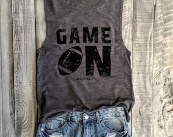 Superbowl Sale!! Game ON Football Muscle Tee in Asphalt/Black Workout Top, Muscle Tank, Rugby