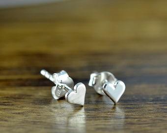 silver heart earrings - stud earrings - heart earrings  - tiny stud earrings - sterling silver tiny heart post earrings