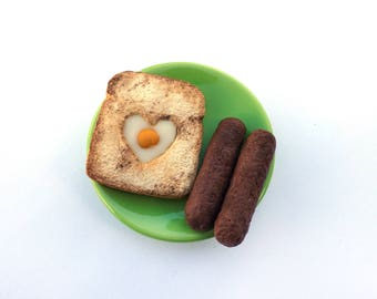 Egg in the Basket/Toad in the Hole Toast with Egg and Two Sausages - Handmade Gourmet Doll Food For Your American Girl Doll