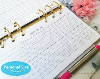 PRINTED Goal tracker - Habit tracker insert - Undated monthly task tracker - Daily routine log - Personal size planner refill - P12
