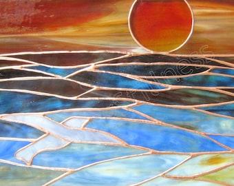 Ocean Sunset Stained Glass Panel Blue Sunrise CUSTOM Stained Glass Window Panel Handmade
