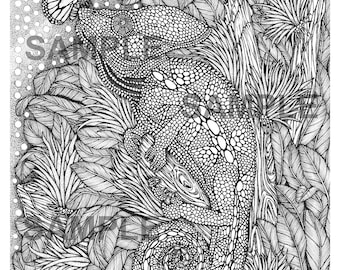 """Digital download-Printable PDF-Coloring Page-Adult Coloring-Printable Wall Art-Art print-Hand-Drawn """"Chameleon and  Butterfly."""""""