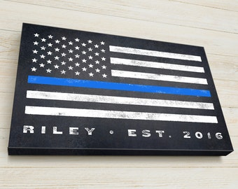 Police Officer Gift, Personalized, Thin Blue Line, Flag,  READY TO HANG Canvas Gallery Wrap