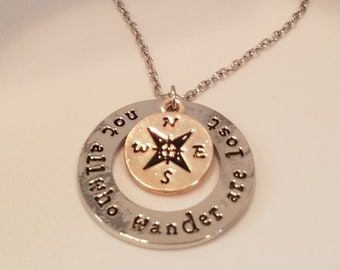 Not All Who Wonder Are Lost Pendant Necklace Traveler Necklace World Explorer Compas