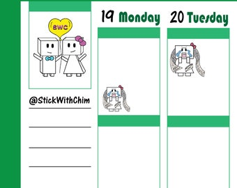 Bow Robot Girl Credit Card Bill   Cute Planner Stickers   Perfect for planners and calendars   R2008
