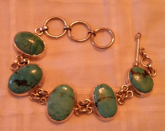 Turquoise Sterling Silver Bracelet with Toggle Clasp