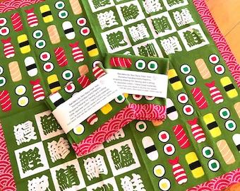 Sushi Japanese Hand Dyed Bandana, Hand towel, tea towel, handkerchief, wrapping, Kitchen linens, Japanese cotton fabric, Sushi table Napkin