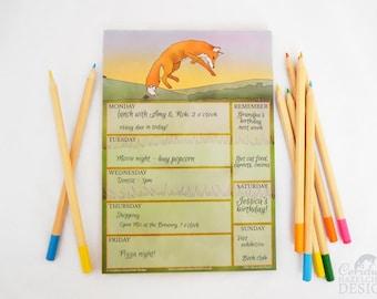 Fox Weekly Planner, A5 Desk Pad, Weekly Organiser, Homework Planner, To Do List