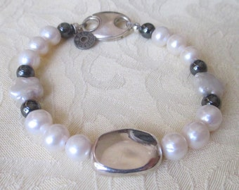 Pearl, Sterling Silver and Hematite Bracelet
